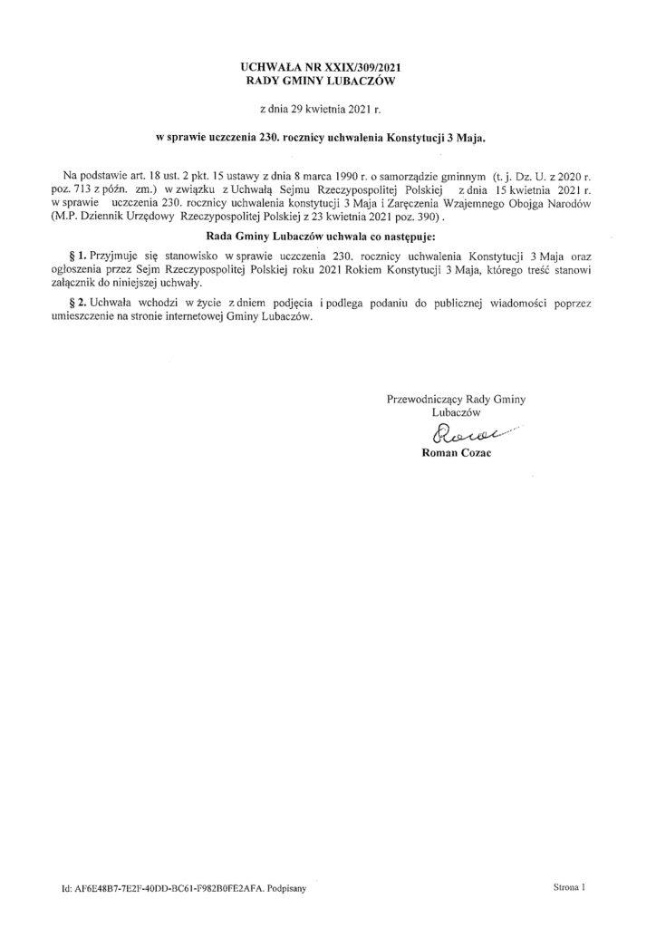 UCHWAŁA NR XXIX/309/2021 RADY GMINY LUBACZÓW z dnia 29 kwietnia 2021 r. w sprawie uczczenia 230. rocznicy uchwalenia Konstytucji 3 Maja